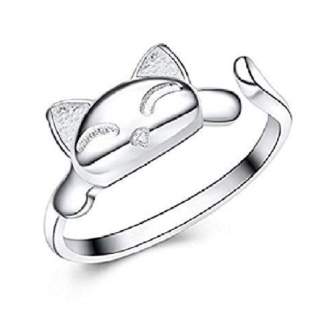 modelos de anillos de plata para mujer de gatos