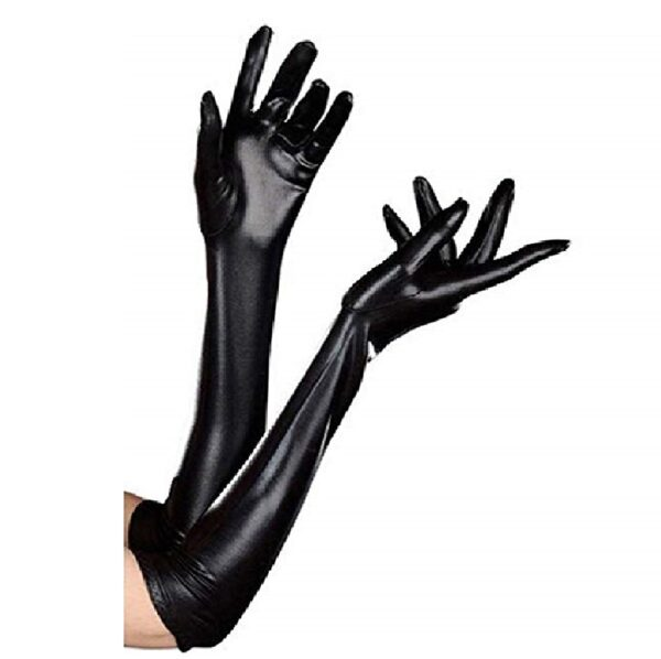 guantes largos negros de disfraz de gato