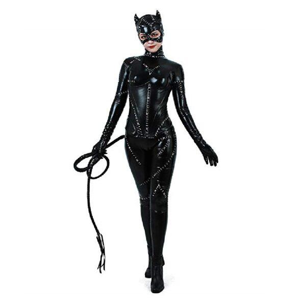 Disfraz de cuerpo completo negro de gatúbela para mujer, de Noche de Brujas, máscara y látigo