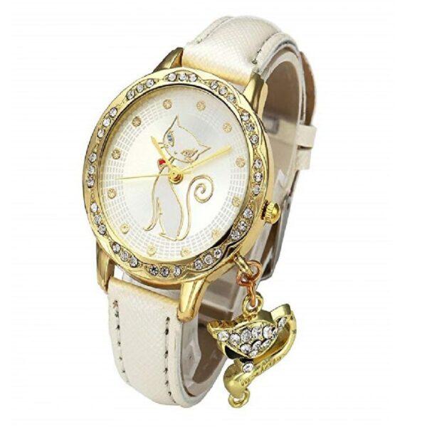 reloj dorado mujer de moda de gatos