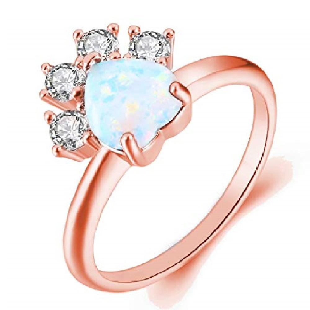 anillo de oro rosa de compromiso de gatos