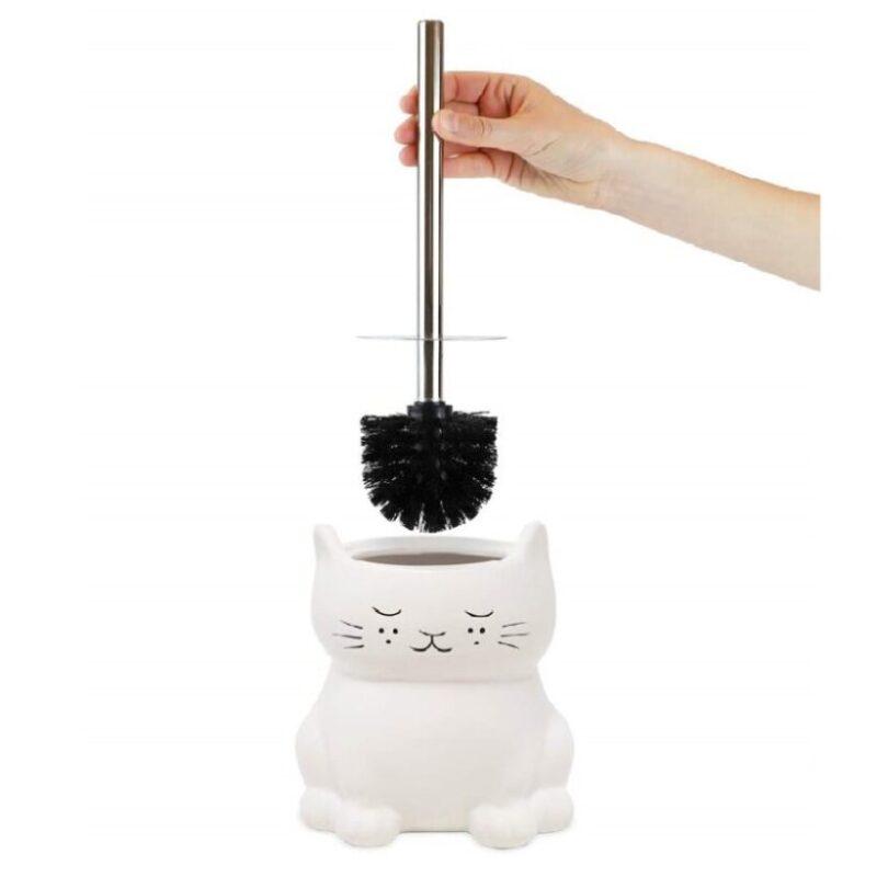 escobillero de cerámica para el baño de gatos
