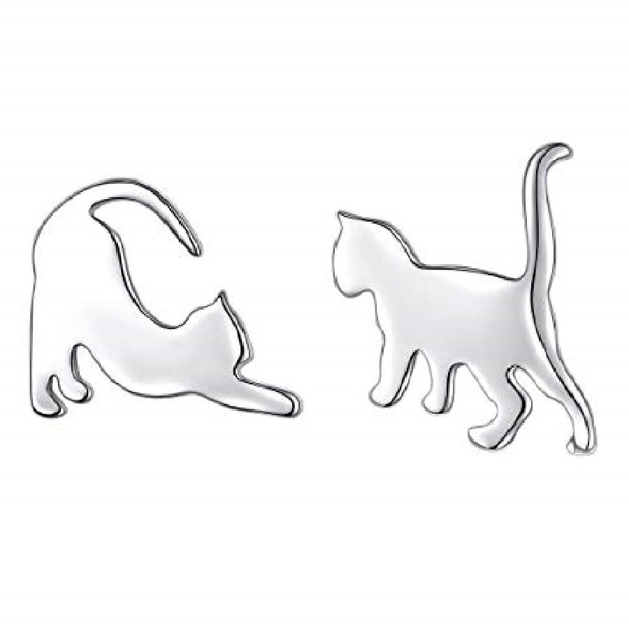 aretes de gato plata y acero