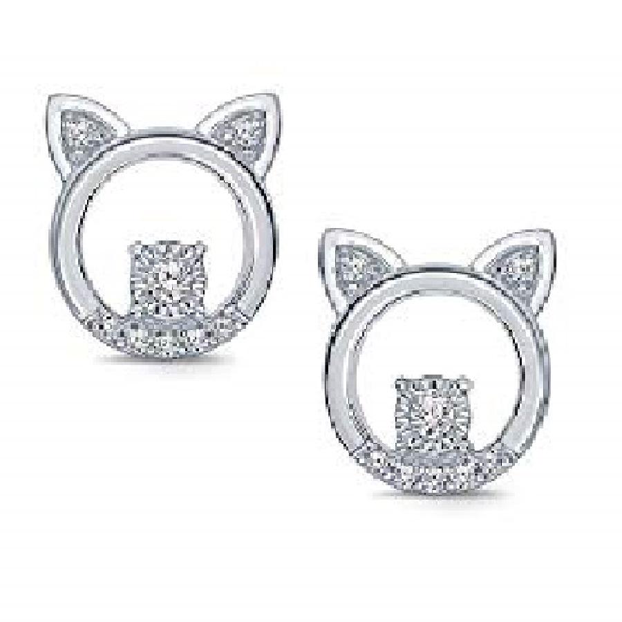 aretes pequeños con diamantes de gatos