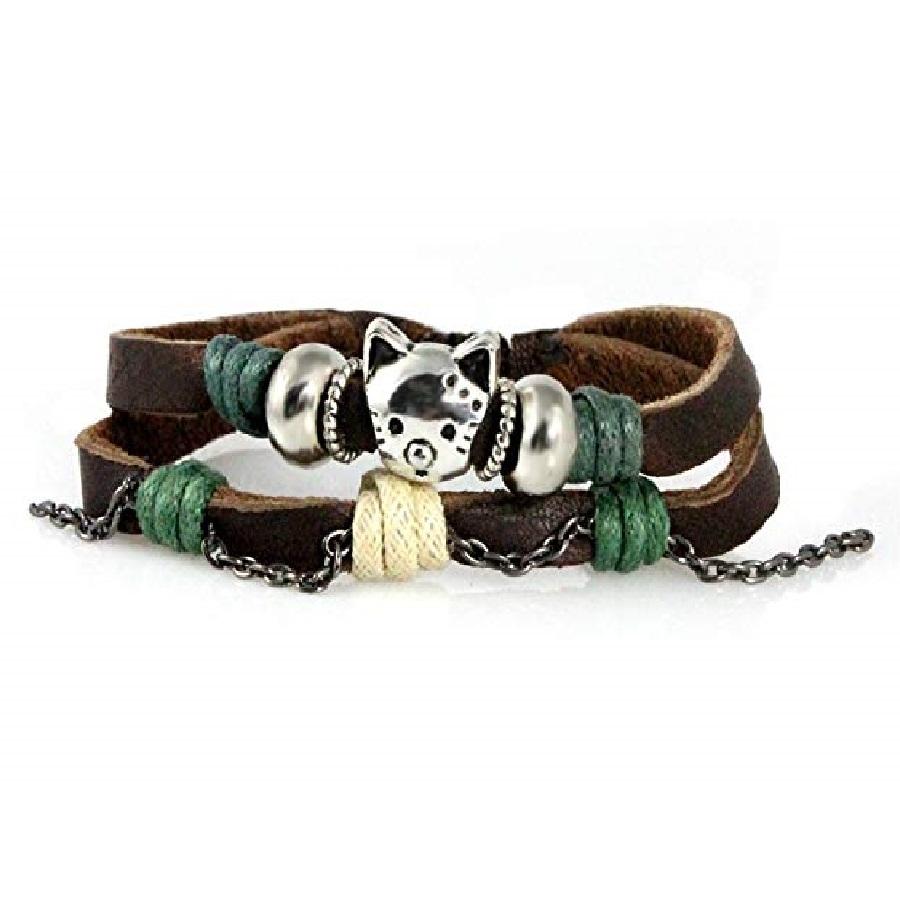 pulseras mujer cuero de moda de gatos