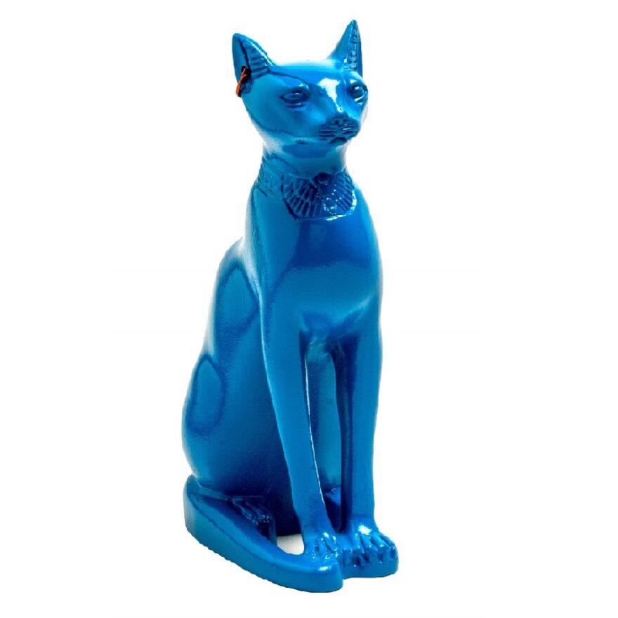 estatua azul de gatos adornos