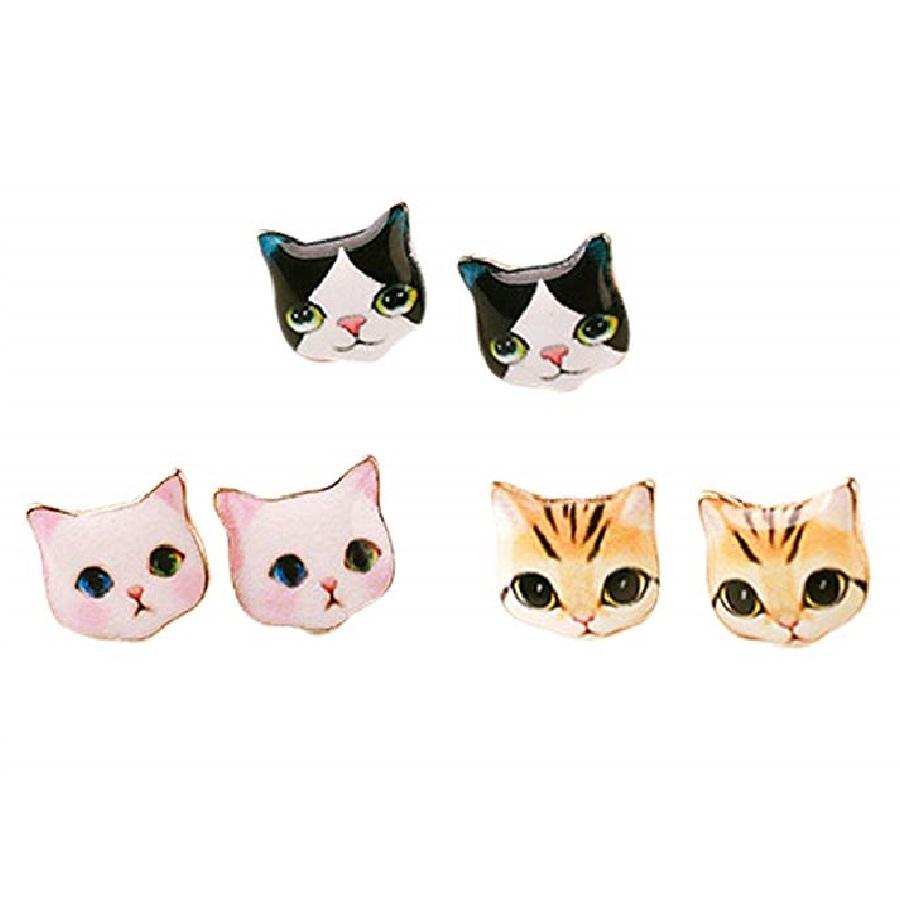 aretes de cabezas de gato