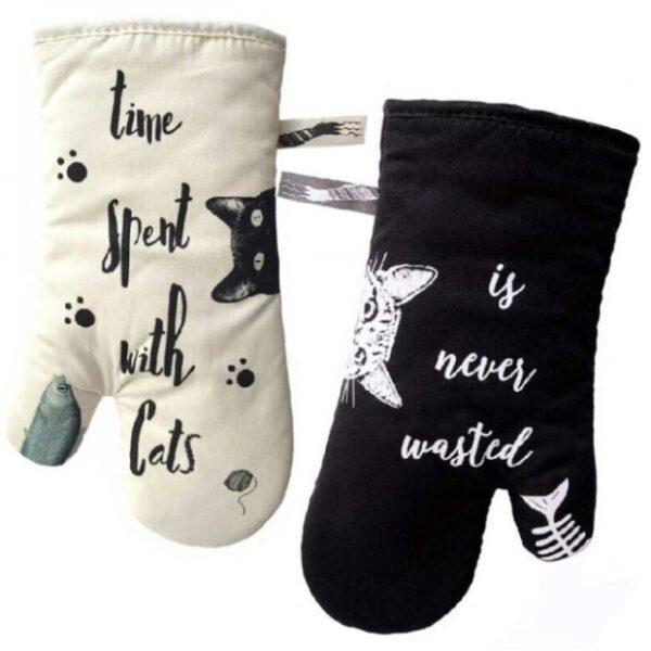 guantes de cocina para horno de gatos