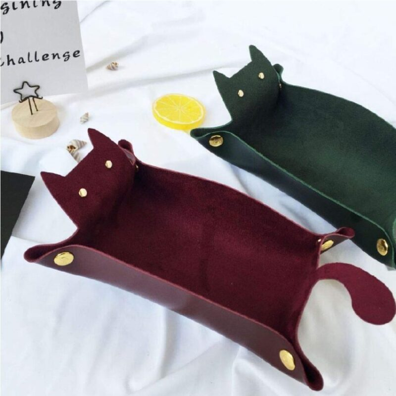 Bandeja de almacenamiento de escritorio de gatos