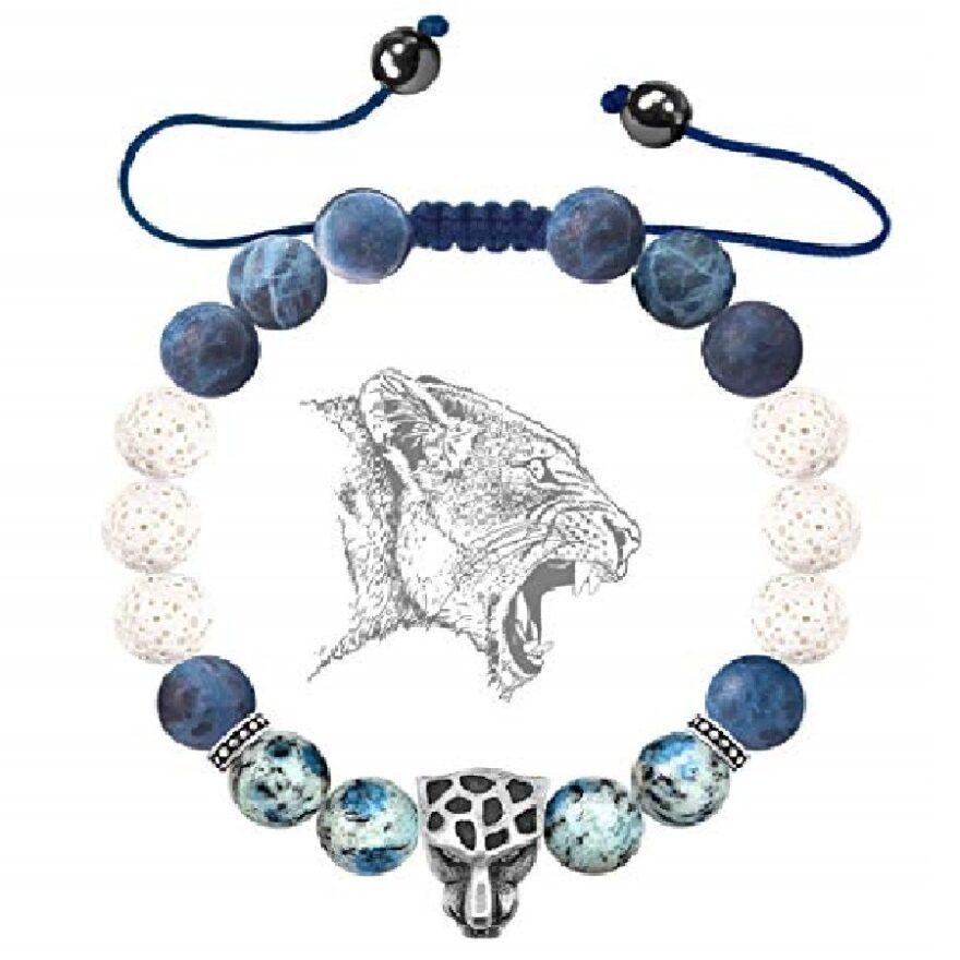 pulsera de mujer de piedras azules de gatos