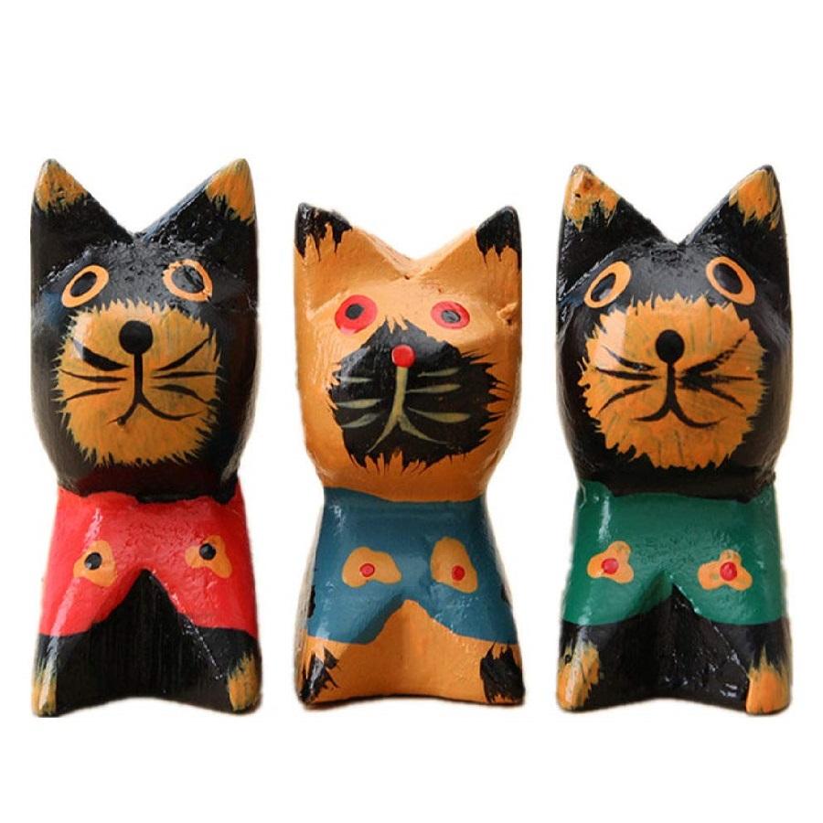 Estatuillas de escultura de gatos de madera