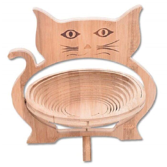 Cesta de fruta plegable portátil hecha a mano de gatos