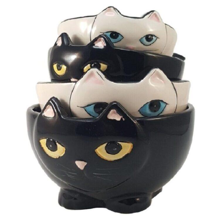 tazas medidoras de cerámica de gatos