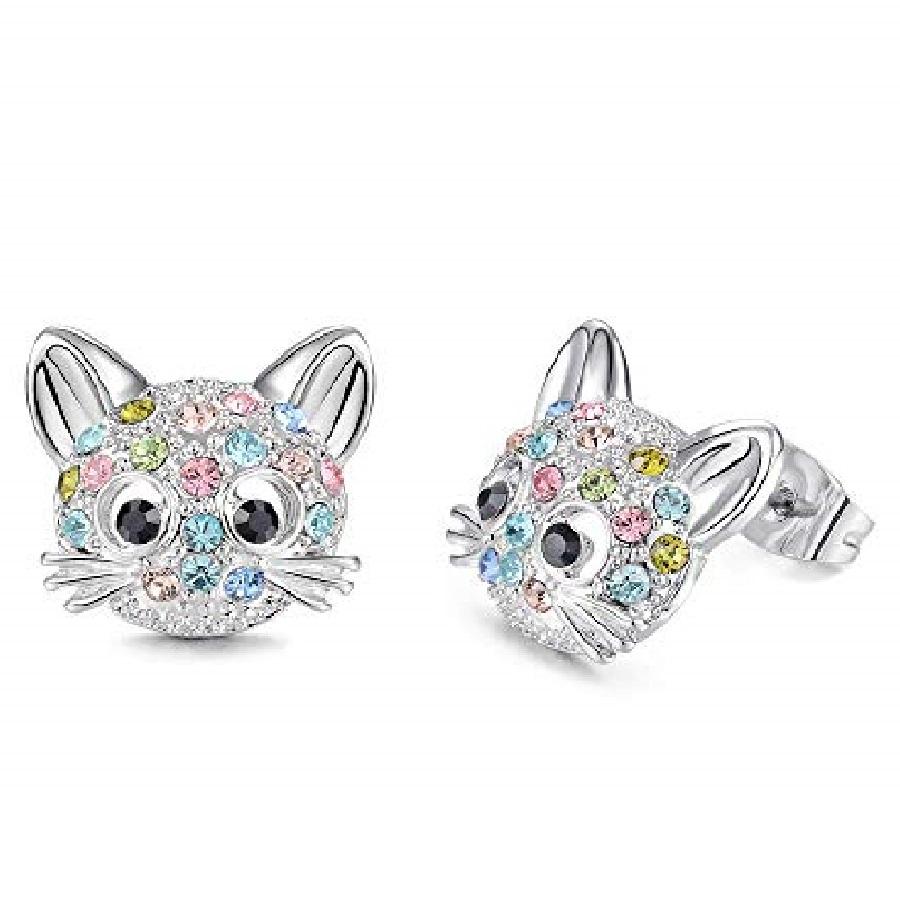 aretes pequeños de moda plata con piedras de gatos