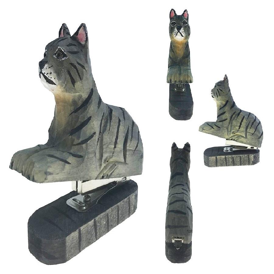tallado de madera Animal grapadora de gatos