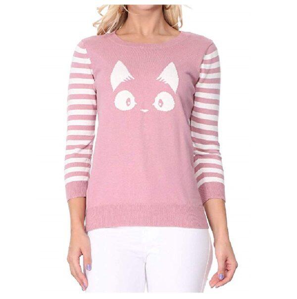 Suéter cuello redondo estampado de gatos mujer