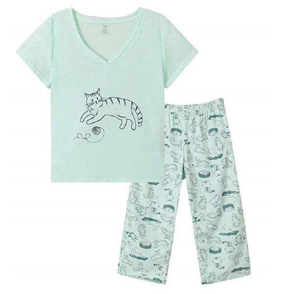 pijamas de mujer de algodón de gatos