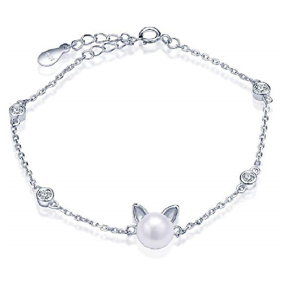 pulseras delgadas de mujer de plata con dijes de gatos