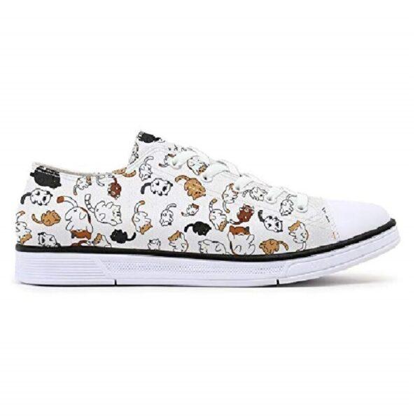 zapatillas blancas de mujer de moda de gatos