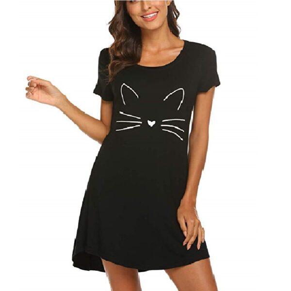 Camisa de dormir mujer algodón de gatos