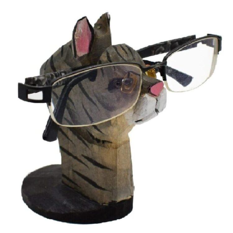 Soporte para gafas o lentes de madera tallada a mano de gatos