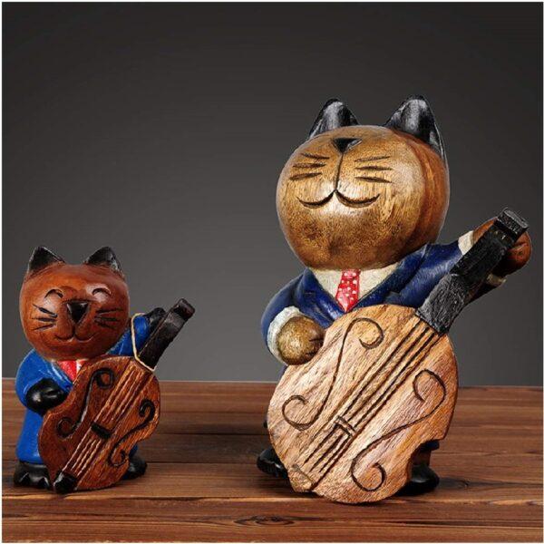 decoración de hogar tallado de gatos guitarristas