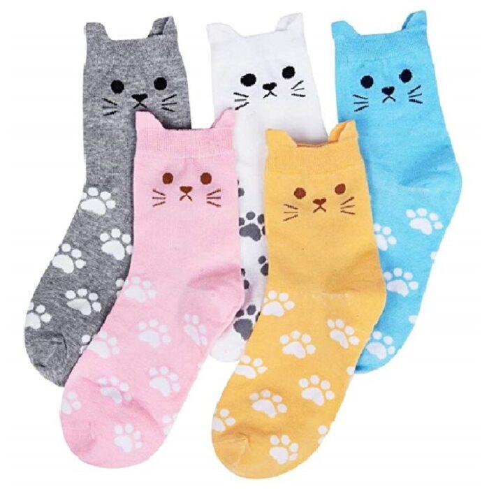 medias cortas para mujer de gatos