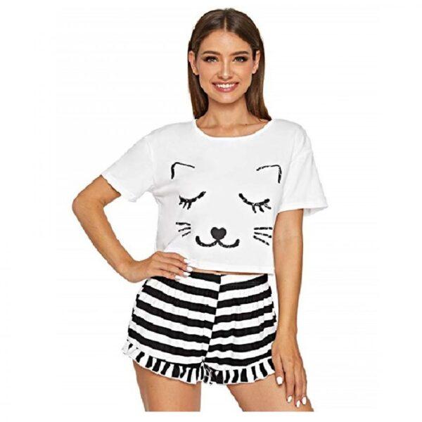 pijamas de mujer cortas modernas de gatos