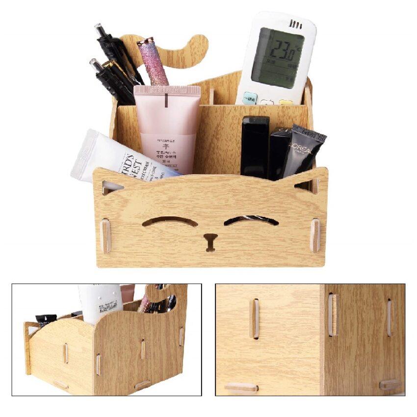 organizador de escritorio de madera de gatos