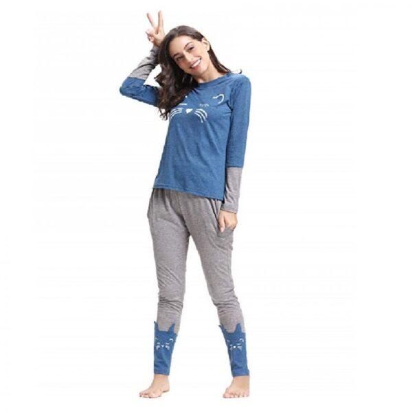 pijamas mujer invierno algodón de gatos