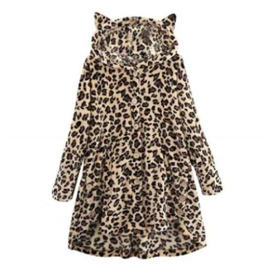 Abrigo invierno mujer, estampado de leopardo de gatos