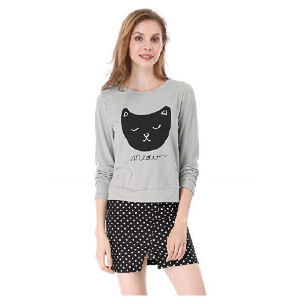 Camiseta de manga larga para mujer de gatos