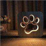 madera tallado LED de noche de gatos