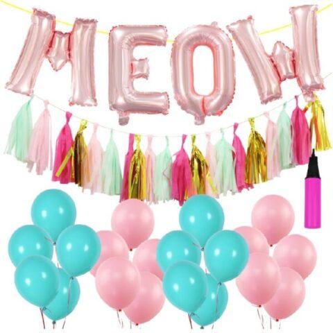 globos multicolor de látex de gatos
