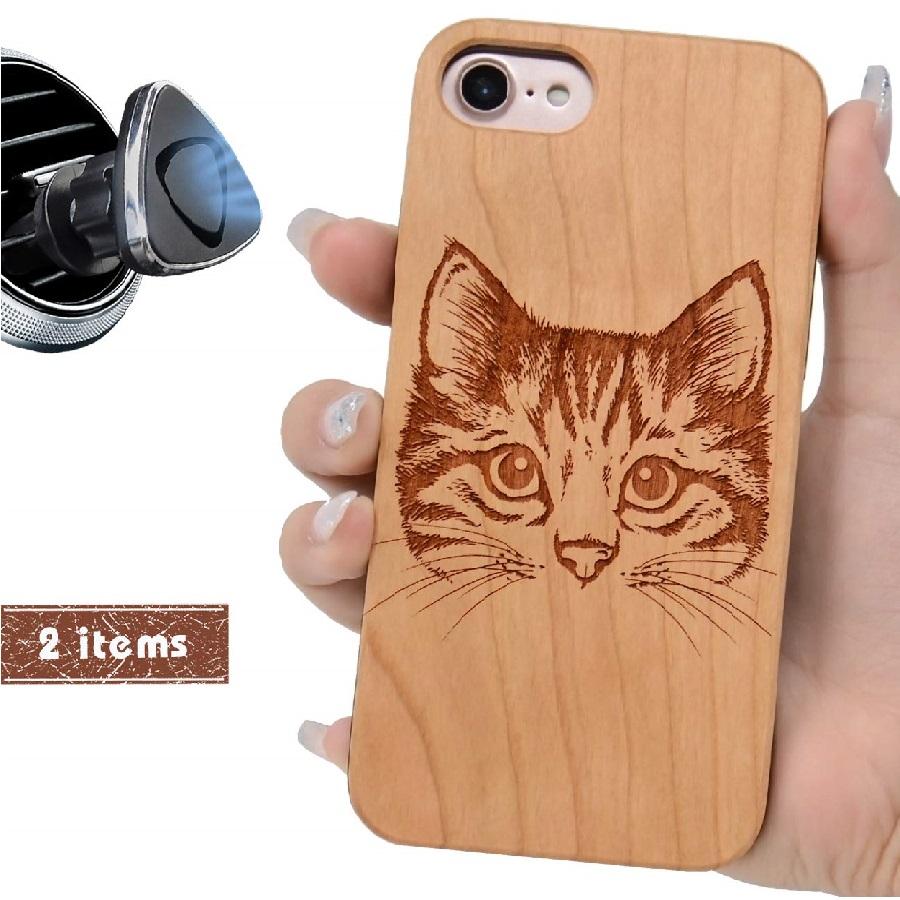 carcasas de madera personalizadas de gatos
