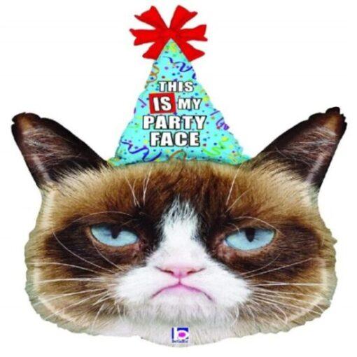globo de gato gruñón de fiesta
