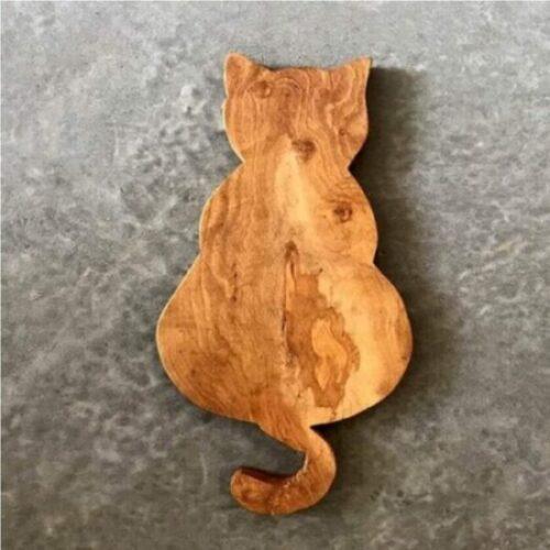 Tabla de cortar y servir de madera de olivo de gatos