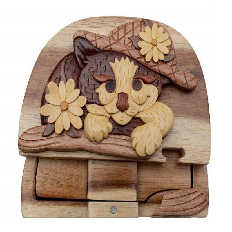 caja joyero de rompecabezas tallada a mano de gatos