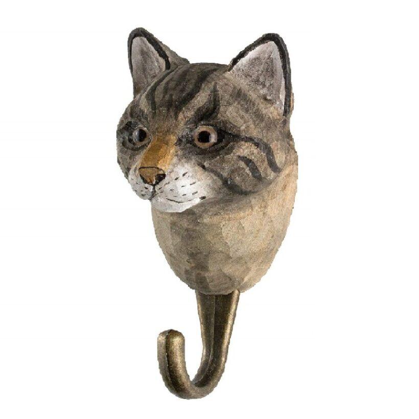 gancho de ropa tallado a mano de gatos