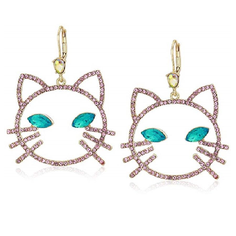 aretes para mujer modernos brillantes de gatos