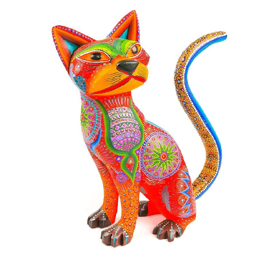 adornos Alebrije de gatos hecho de madera