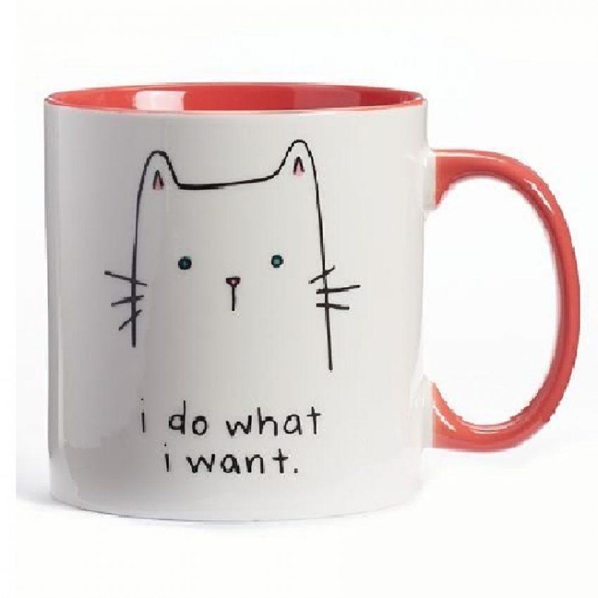 taza de café diseño de gatos
