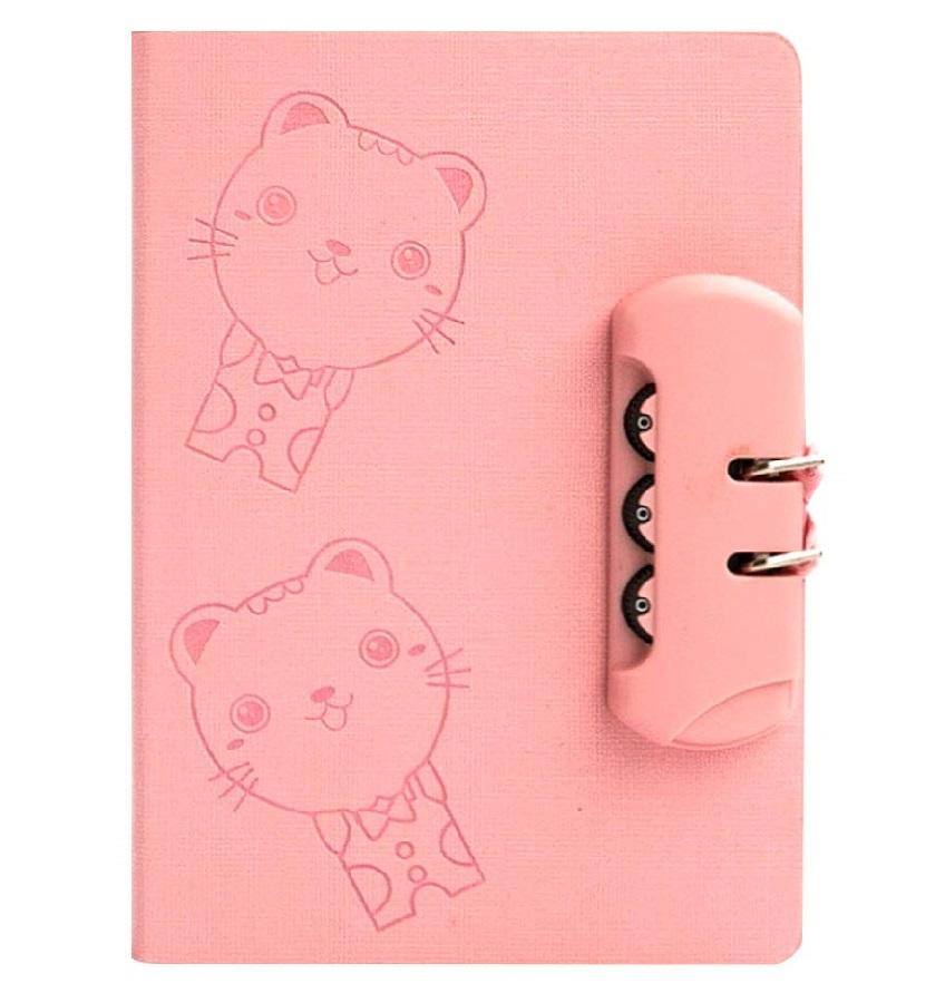 Cuaderno con cerradura de contraseña diseño gatos