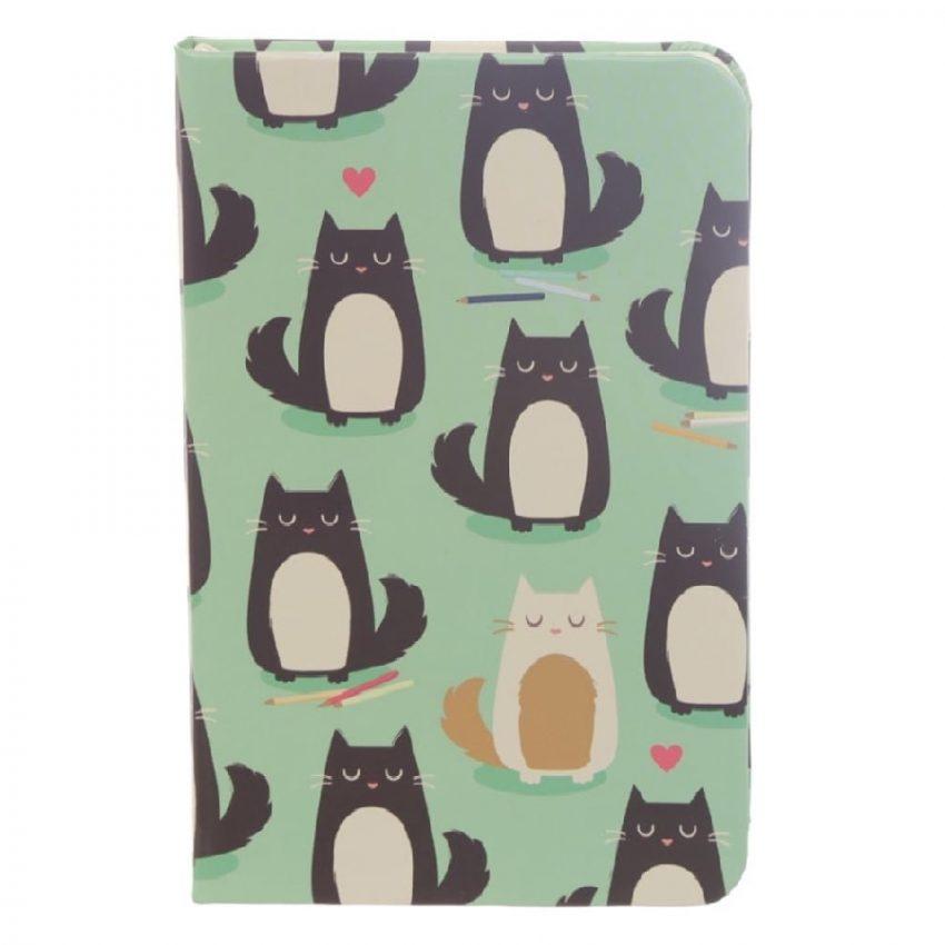 Cuaderno de cuero con banda elástica de gatos