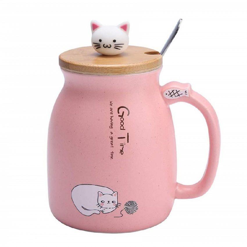 Taza de cerámica con cuchara y tapa de gatos