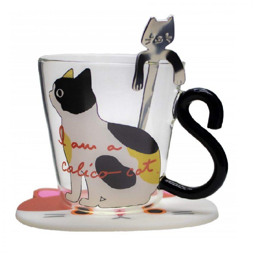 taza de té de cristal con diseño de gato
