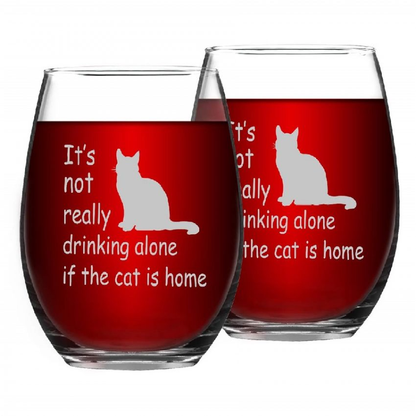 copas de vino sin pie diseño de gatos