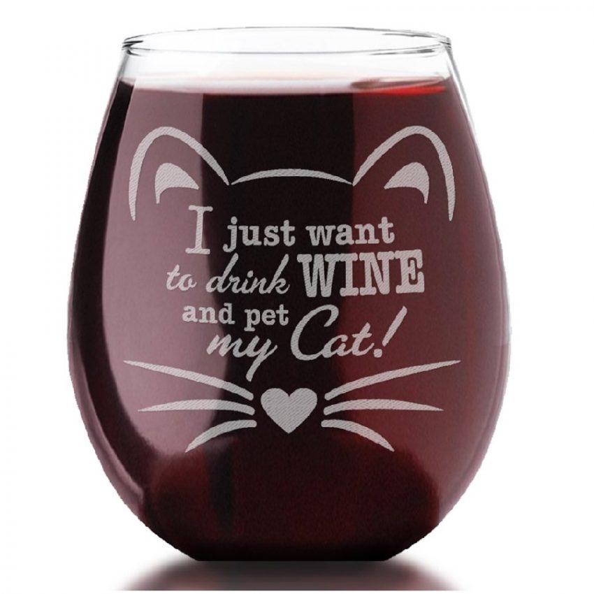 copas de vino tinto de cristal de gatos