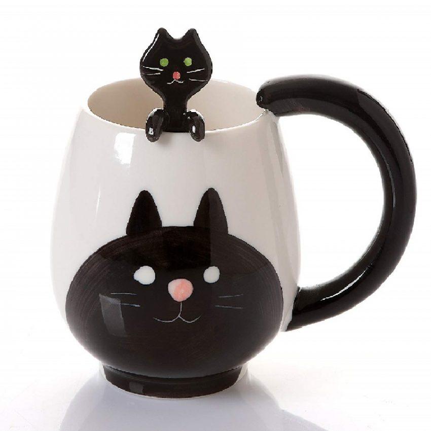 taza de gatos de porcelana