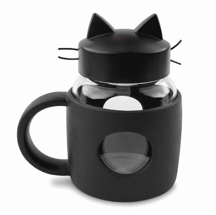 taza de té o café diseño animados de gatos